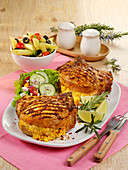 Stuffed chops with sweetcorn and Cheddar