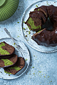 Chocolate bundt cake with matcha