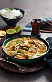 Chinese chicken curry with mushrooms and vegetables