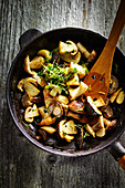 Fried mushrooms with cress