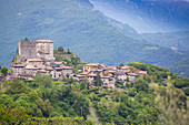 A view of the village of Tenno in the landscape of wooded Trentino, Italy