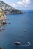 A motor boat in the sea, Amalfi Coast, Campania, Italy