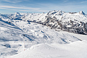 Switzerland, Engadin, Sankt Moritz: View from Corvatsch to Lake Sils