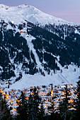 Switzerland, Grisons, Davos: View from Hotel Schatzalp to Davos and Jakobshorn