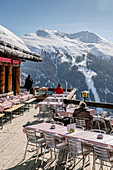 Switzerland, Grisons, Davos: Panorama restaurant next to the top station of the Schatzalp funicular