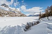 Switzerland, Engadin, View from Maloja at Lake Sils
