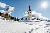 Switzerland, Engadin, Church Chiesa Bianca in Maloja at Lake Sils