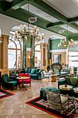 Switzerland, Engadin, Pontresina: Hotel Walther, Lobby