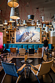 Switzerland, Engadin, Pontresina: Hotel WALTHER, Bar with light installation from artist Rolf Sachs