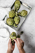Peeling fresh ripe artichokes with knife on table