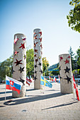 Pillars decorated with stars on Europe Square in Schengen, Luxembourg
