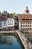 The Rathaussteg jetty and the town hall in Lucerne, Switzerland