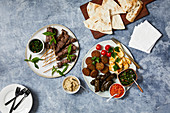 Various mezze with unleavened bread