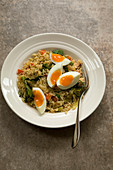 Canned salmon kedgeree with eggs