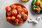 Tomatoe, chili pepper and garlic