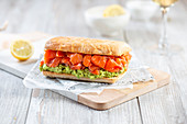Sandwich with smoked salmon and avocado