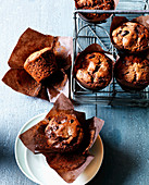 Double chocolate muffins with chocolate chips
