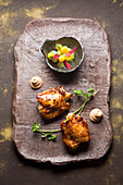 Satay chicken with mango and cucumber salad