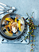 Mango, blueberry, crumble and yoghurt