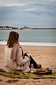 Picknick am Strand mit Weisswein