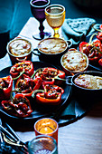 Party food: stuffed peppers and pies