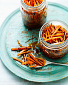 Carrot pickle in kilner jar
