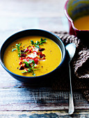 Carrot soup with chilli and coriander