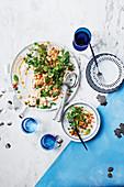 Taramasalata, prawn, pea salad