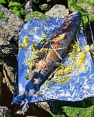 Seasoned sea bass and straw flowers on aluminum foil for grilling