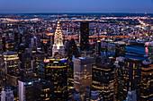A view of Manhattan evening lights, New York City, USA