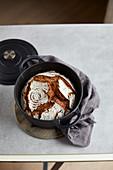 Crusty bread baked in a pot