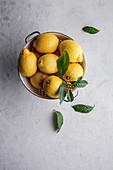 Zitronen in einem Sieb