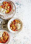 Garnelen-Paprika-Gumbo mit Reis