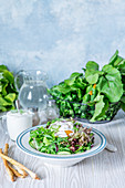 Green salad with poached egg