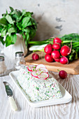 Quark and herb terrine with radishes