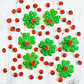 Ladybirds on lucky clover biscuits