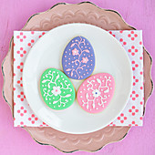 Colorfully decorated Easter egg motif cookies