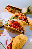 Spicy fish tacos with sour onions and coleslaw