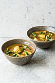 Thai fish curry with asparagus