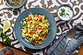 Couscous salad with vegetables and yoghurt