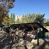 A book stall on the bank of the Seine with the Notre Dame cathedral in the background, Paris, France