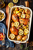 Chicken and potato bake with olives