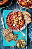 Red kidney bean chili with grilled sausage