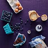 Ingredients for an upside down blueberry pie