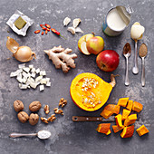 Ingredients for pumpkin soup with ginger and apple