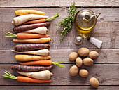 Ingredients for oven-cooked vegetables with rosemary