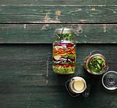 Vegetable salad in glasses