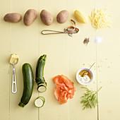 Zutaten für Zucchinirösti mit Räucherlachs