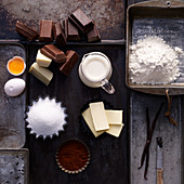 Ingredients for triple chocolate brownies