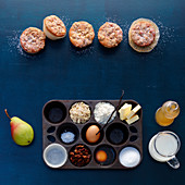 Pear muffins with ingredients